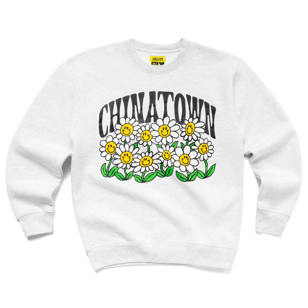 CHINATOWN MARKET SMILEY FLOWER POWER CREWNECK GREY