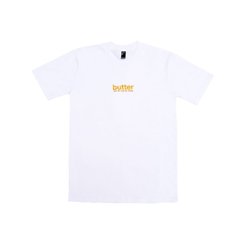 BUTTER EMBROIDERED NET WEIGHT T-SHIRT WHITE/GOLD