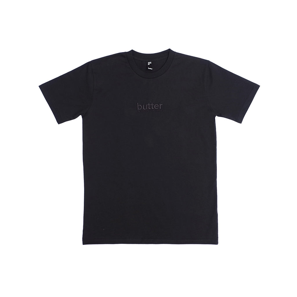 BUTTER EMBROIDERED NET WEIGHT T-SHIRT BLACK