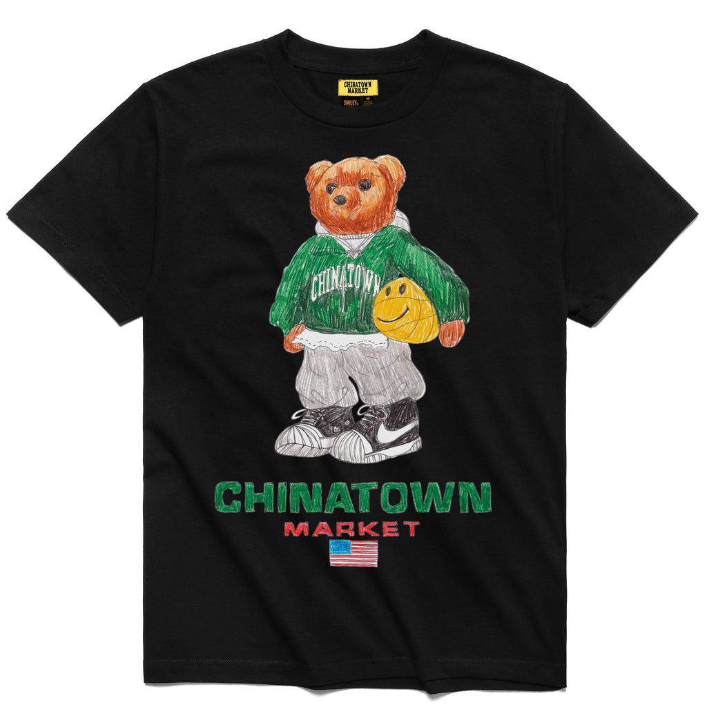 CHINATOWN MARKET SMILEY SKETCH BASKETBALL BEAR TEE BLACK