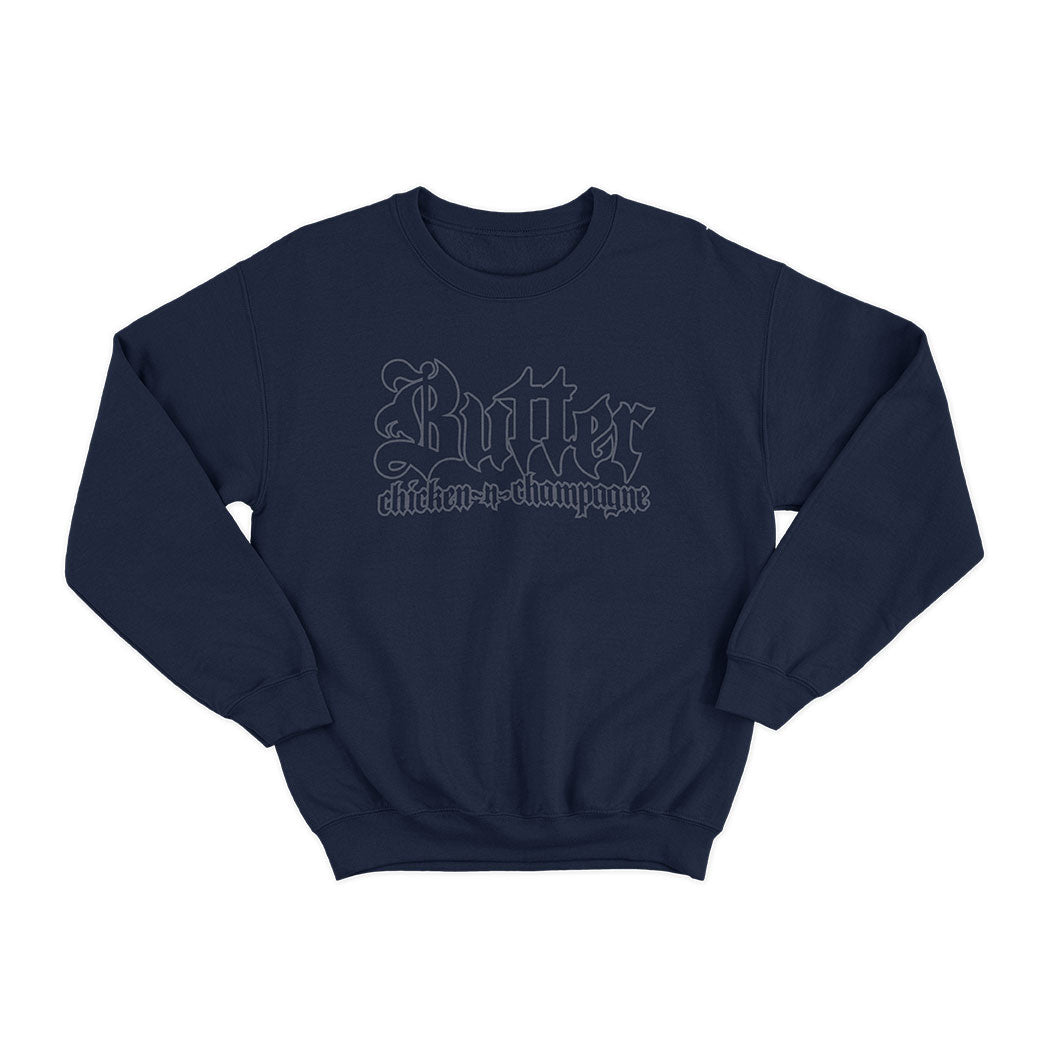 BUTTER CHICKEN~N~CHAMPAGNE REFLECTIVE NAVY SWEATSHIRT
