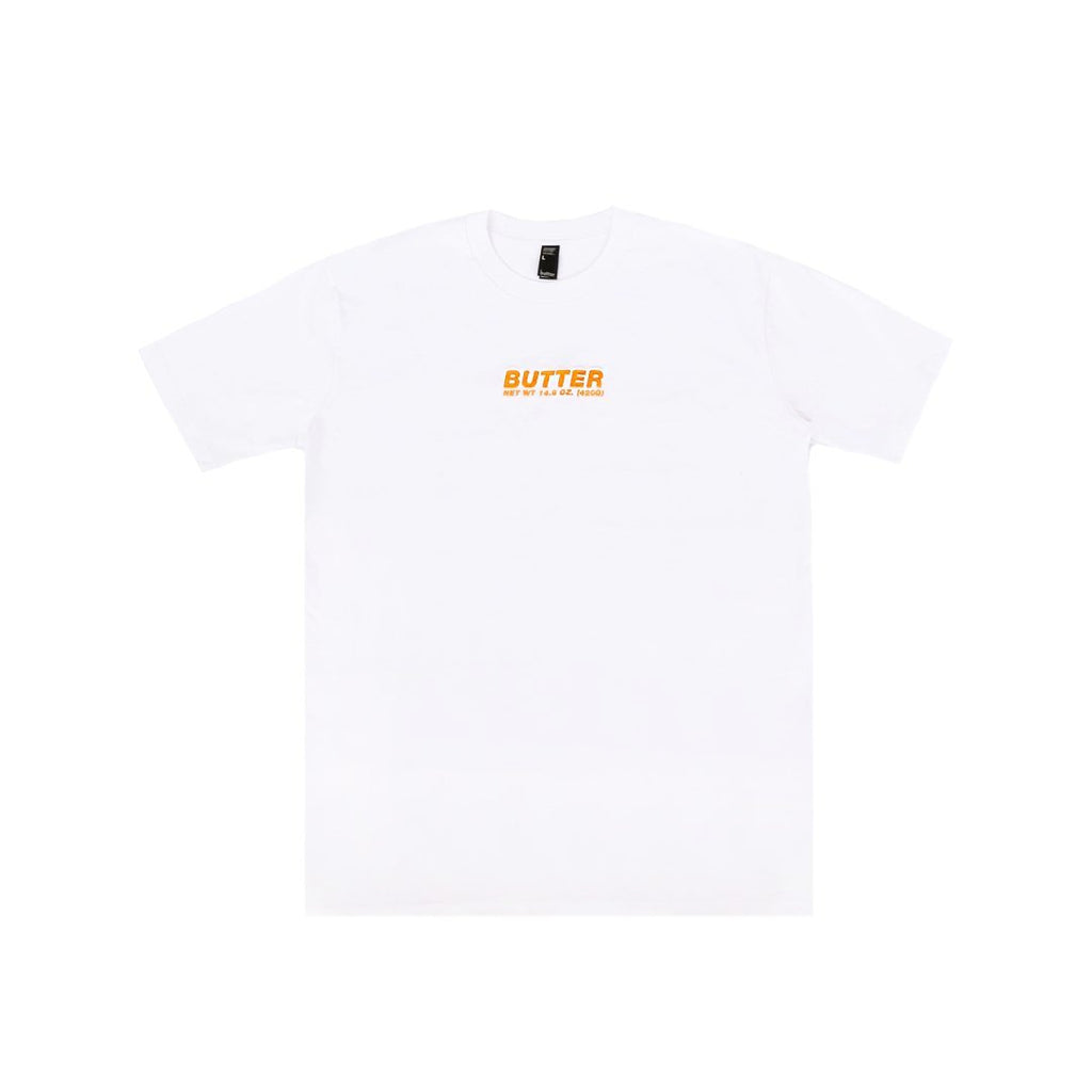 BUTTER CORE EMBROIDERED NET WEIGHT TEE WHITE/ORANGE