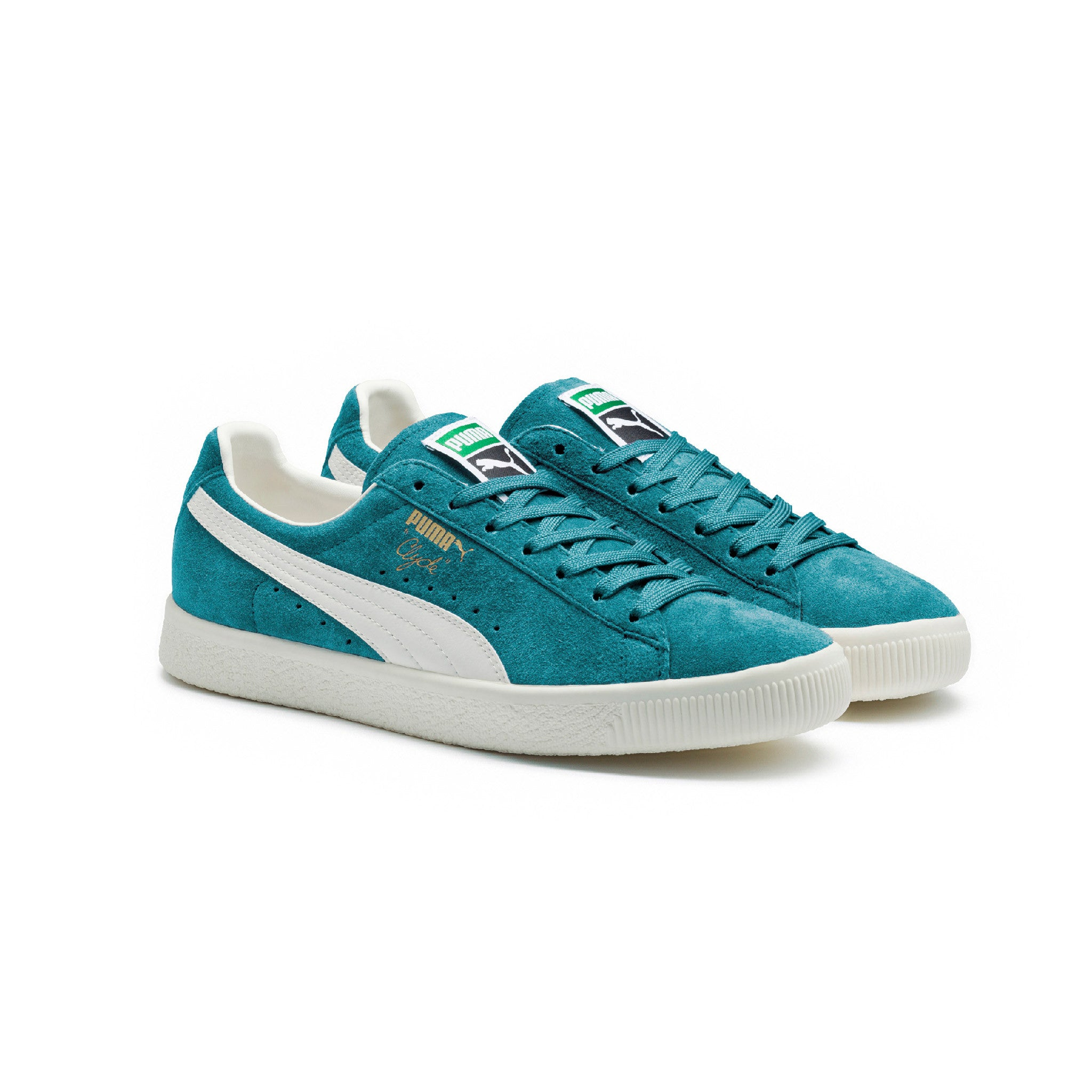 Clyde Premium Core Puma Sneakers Blue Angled View