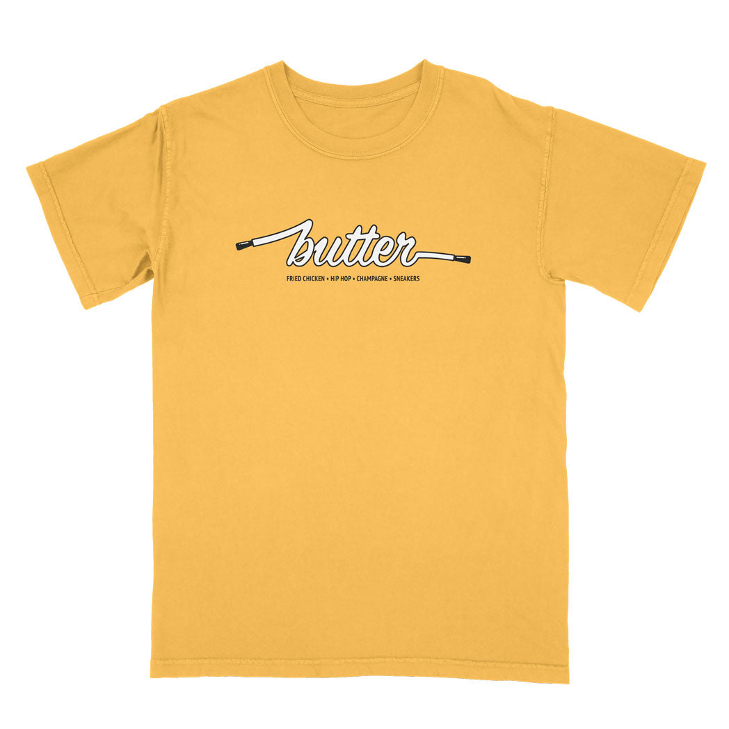 COLOURS BY BUTTER - GOLDENROD TEE (YELLOW/BLACK/WHITE)