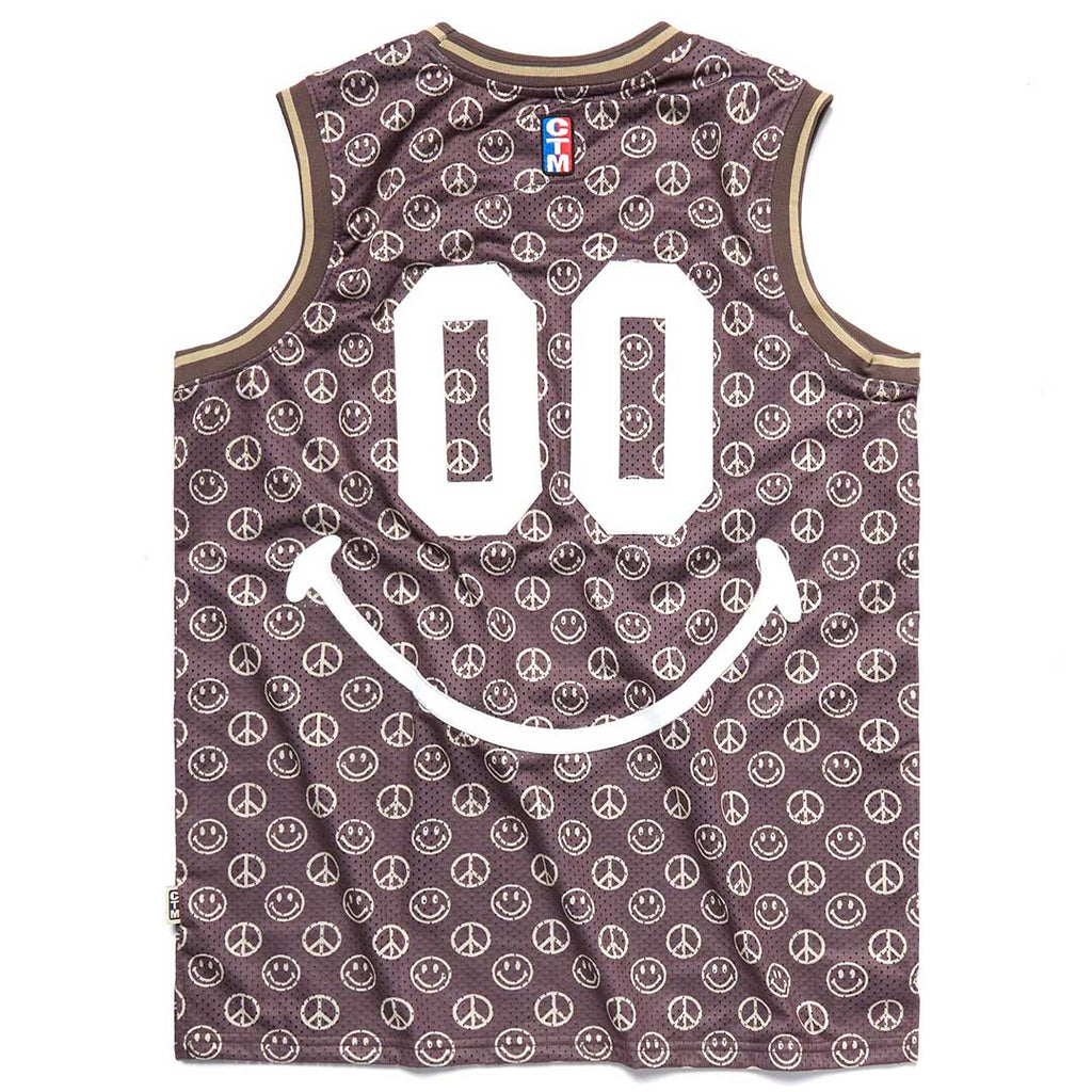 CHINATOWN MARKET SMILEY BROWN BASKETBALL JERSEY