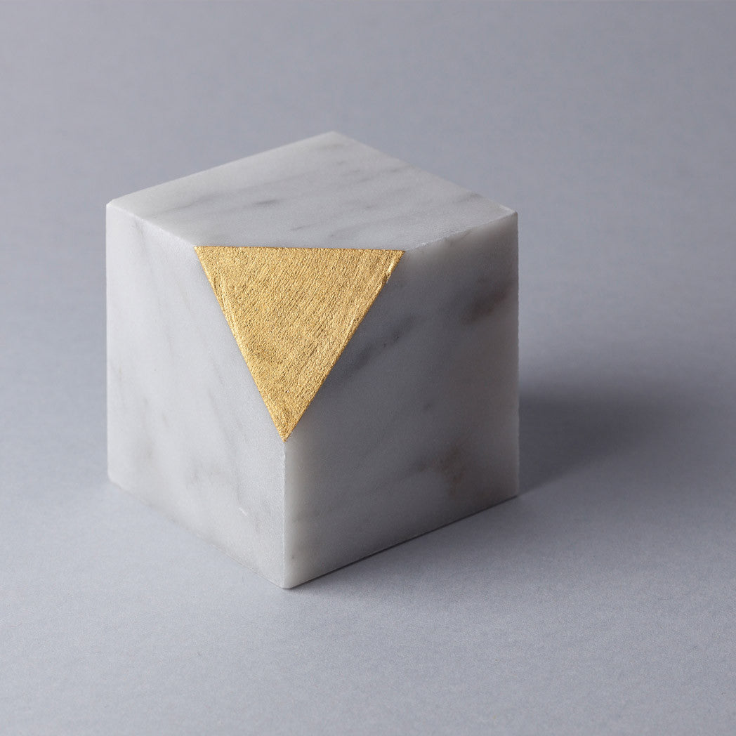Gold Cut Paper Weight Tarek ElKassouf Carrara