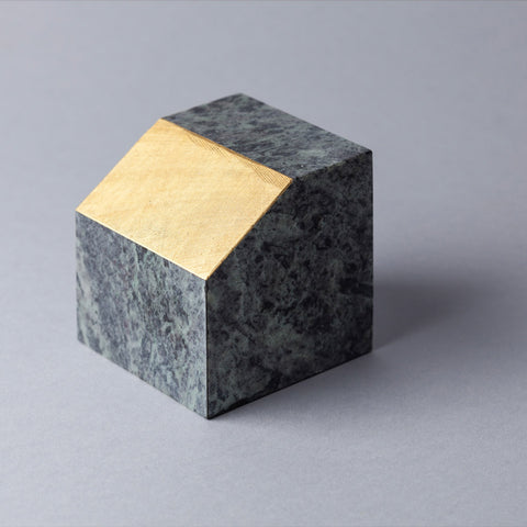 Gold Cut Paper Weight Carrara