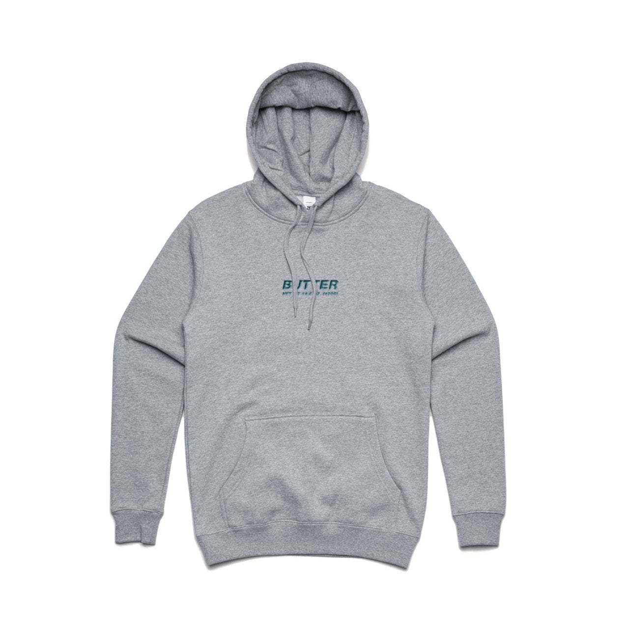 BUTTER CORE EMBROIDERED NET WEIGHT HOODIE GREEN/GREY