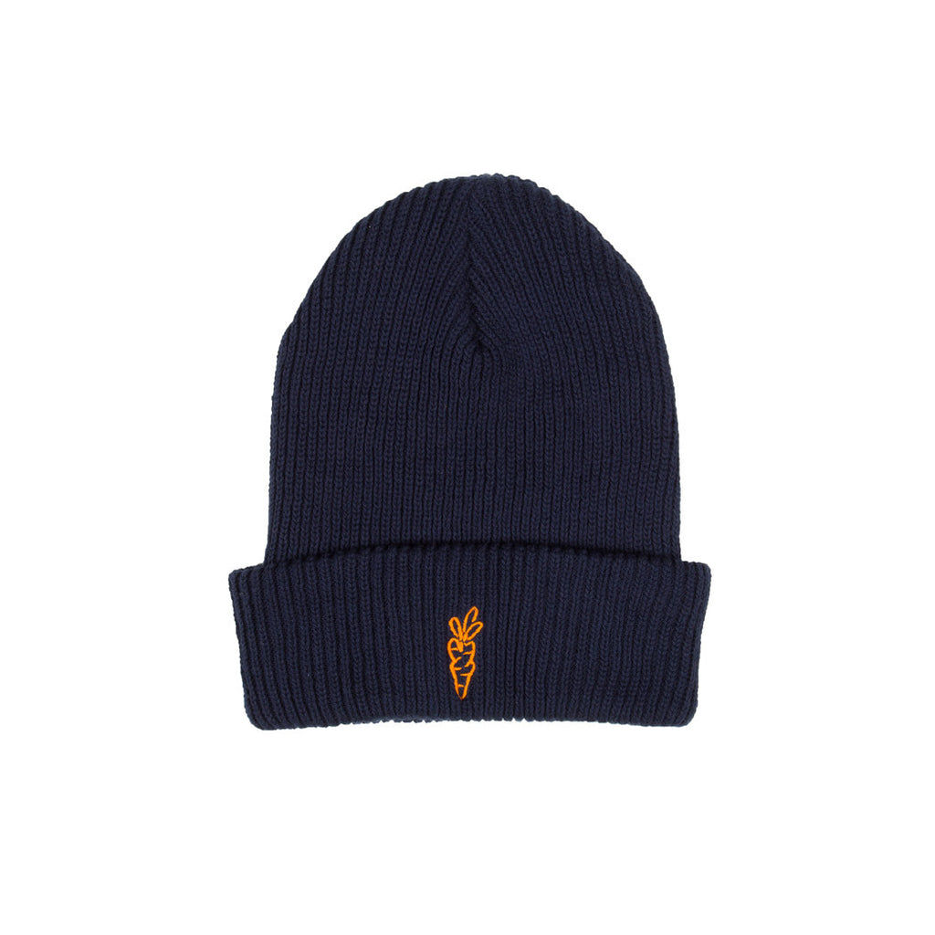 Logo Heavyweight Beanie Carrots by Anwar Carrots Navy Front View