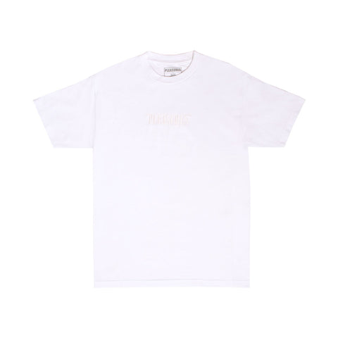 BUTTER CORE EMBROIDERED NET WEIGHT TEE WHITE/WHITE