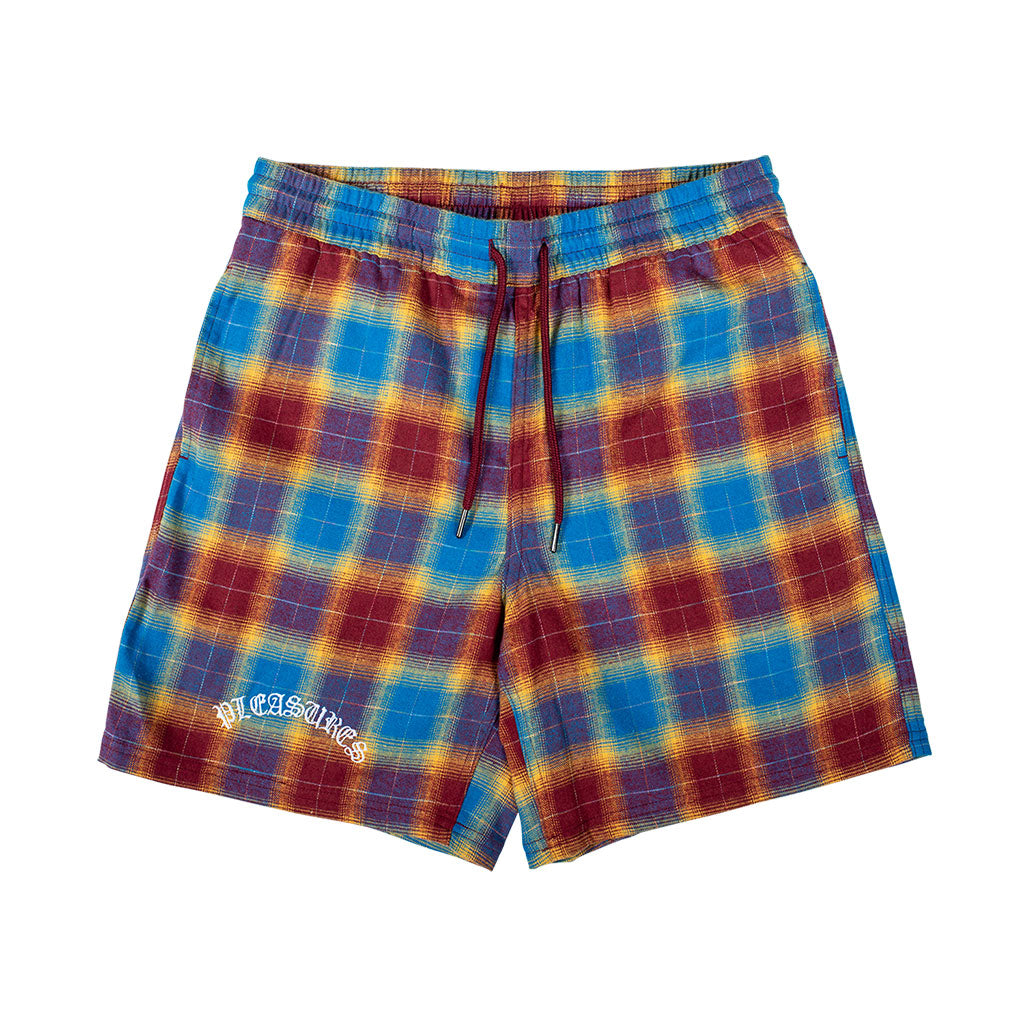 Shadow Plaid Shorts Maroon
