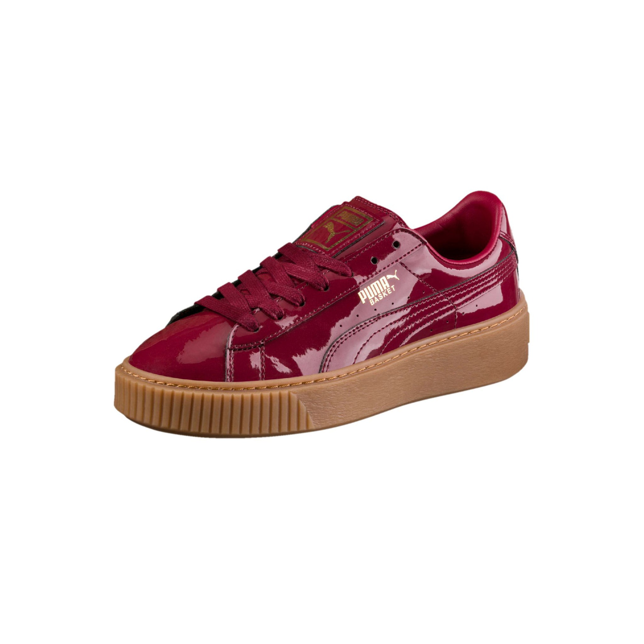 Puma Basket Platform Patent Red Sneakers Angled
