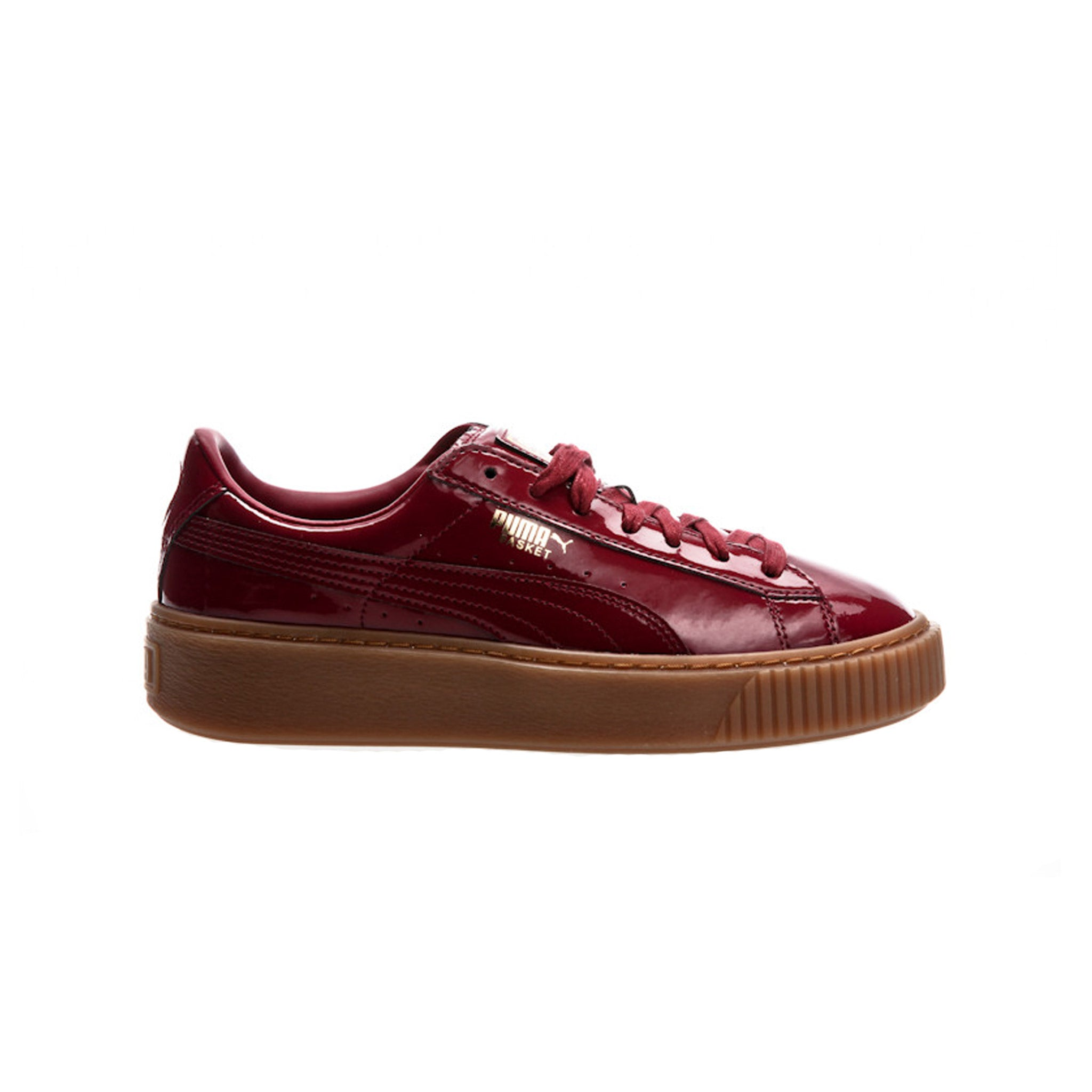 Puma Basket Platform Patent Red Sneakers Side