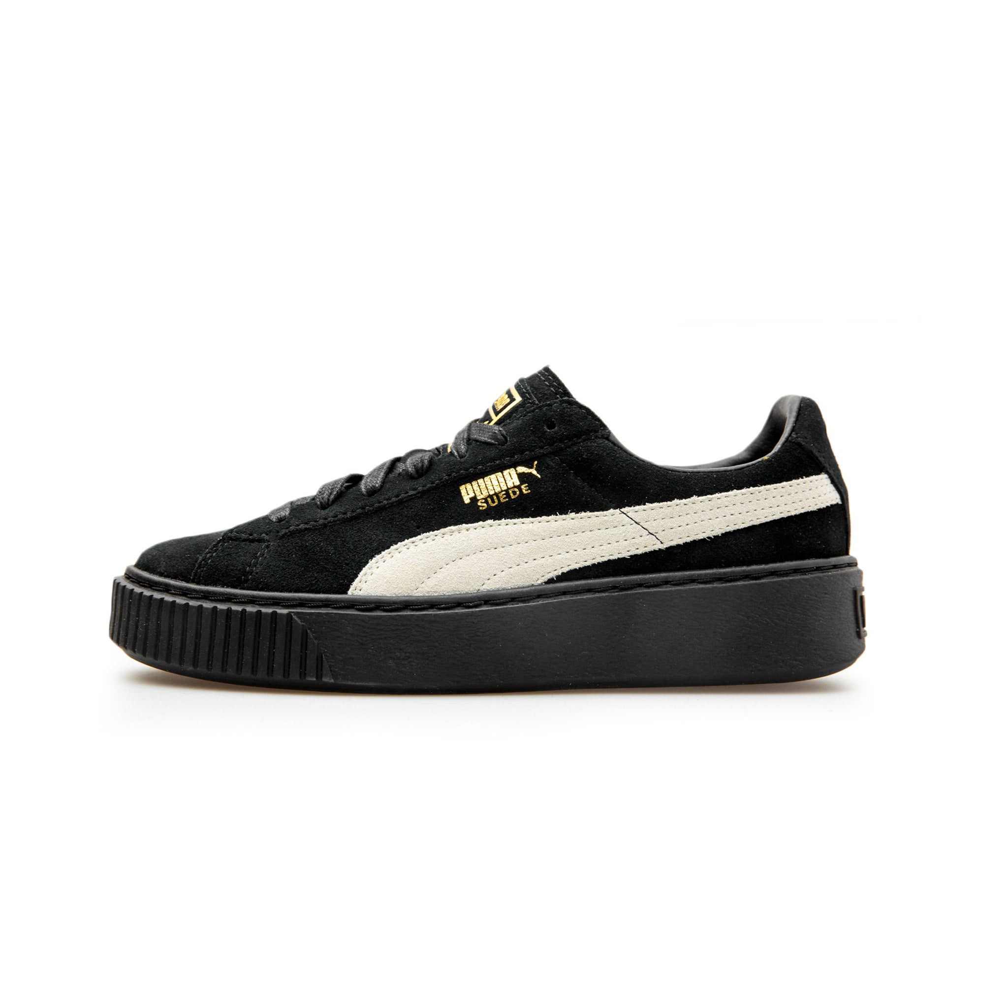 official photos ec320 e07c6 puma suede black white gold