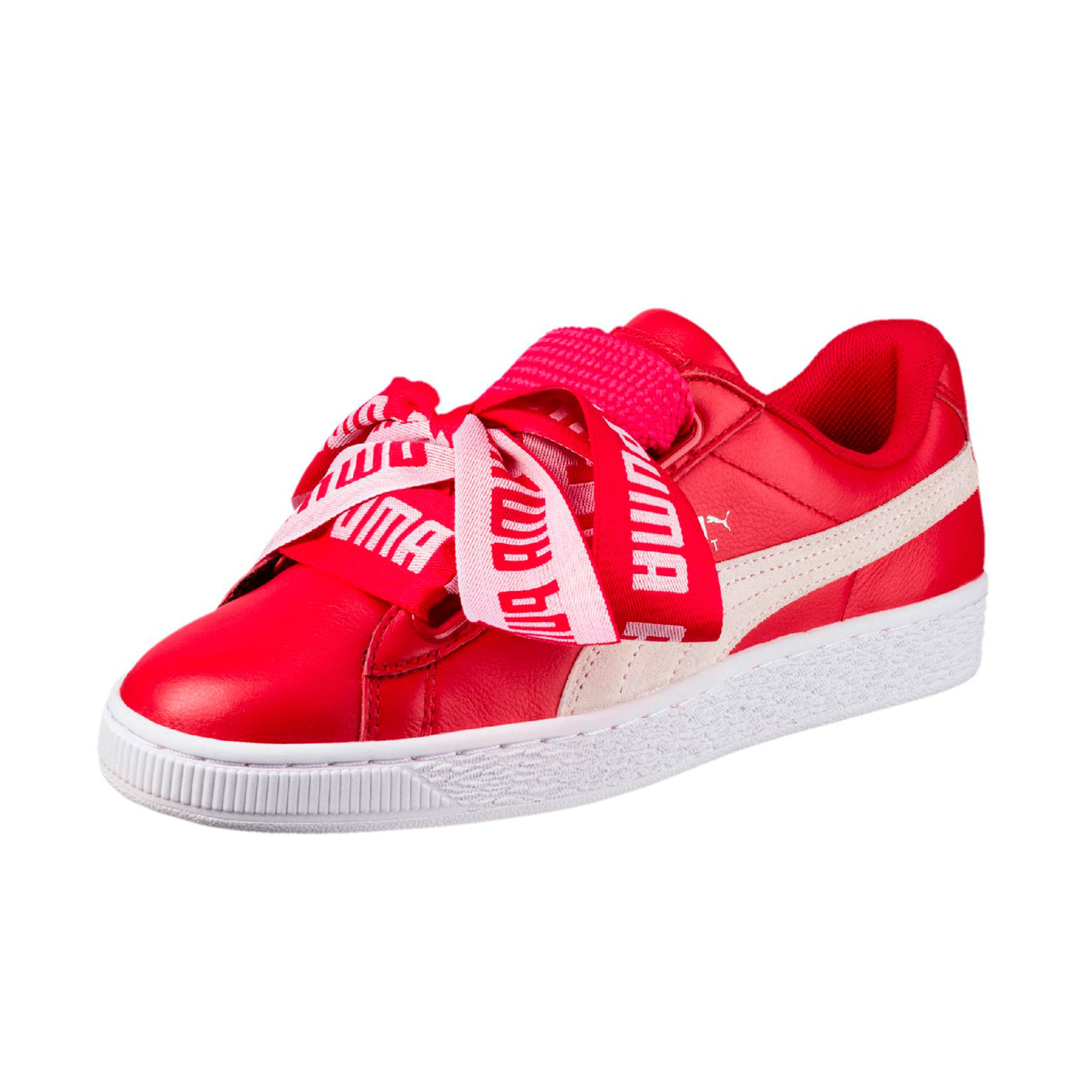 Puma Women's Basket Heart De Sneakers Red Angled View