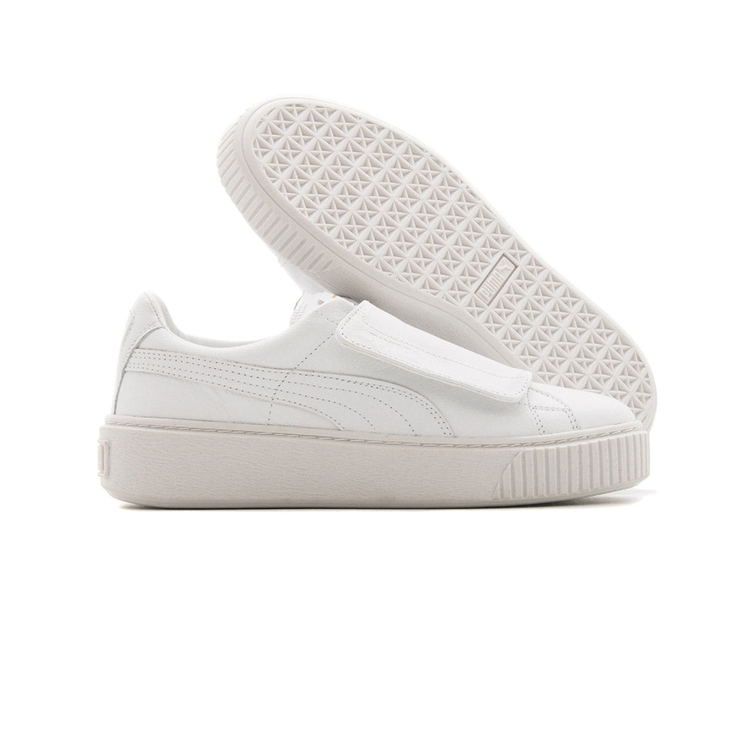 Puma Women's Basket Platform Strap Puma White Side Pair