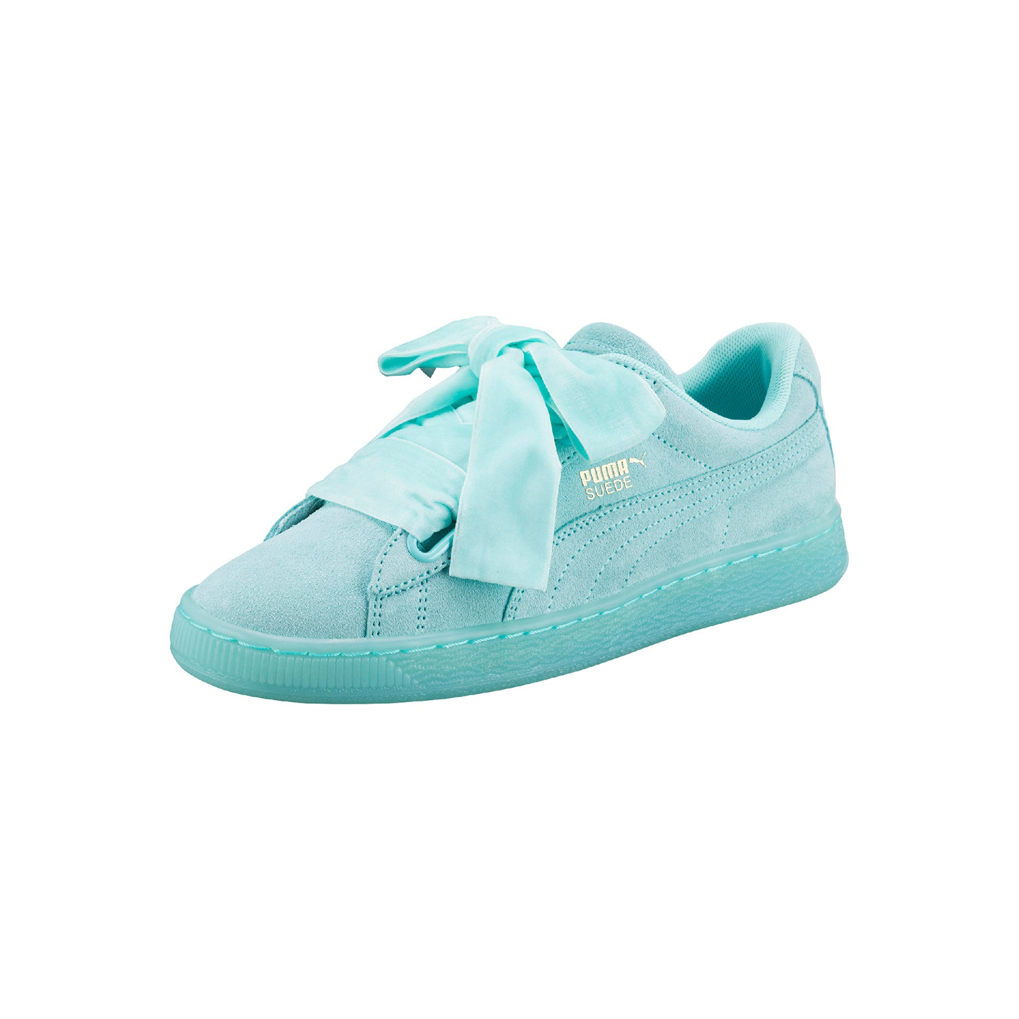 Suede Heart Reset Aruba Puma Sneakers Blue Angled View