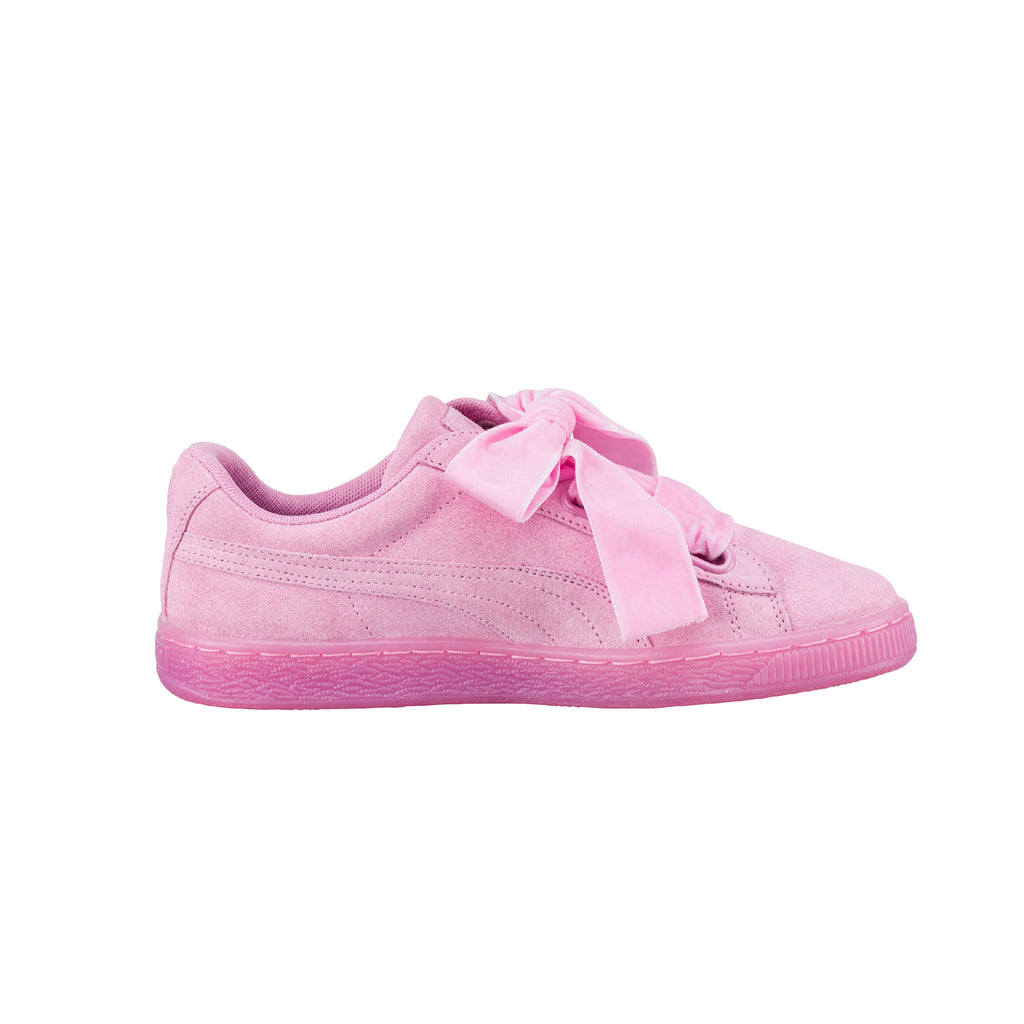 Suede Heart Reset Prism Puma Sneakers Pink Side View