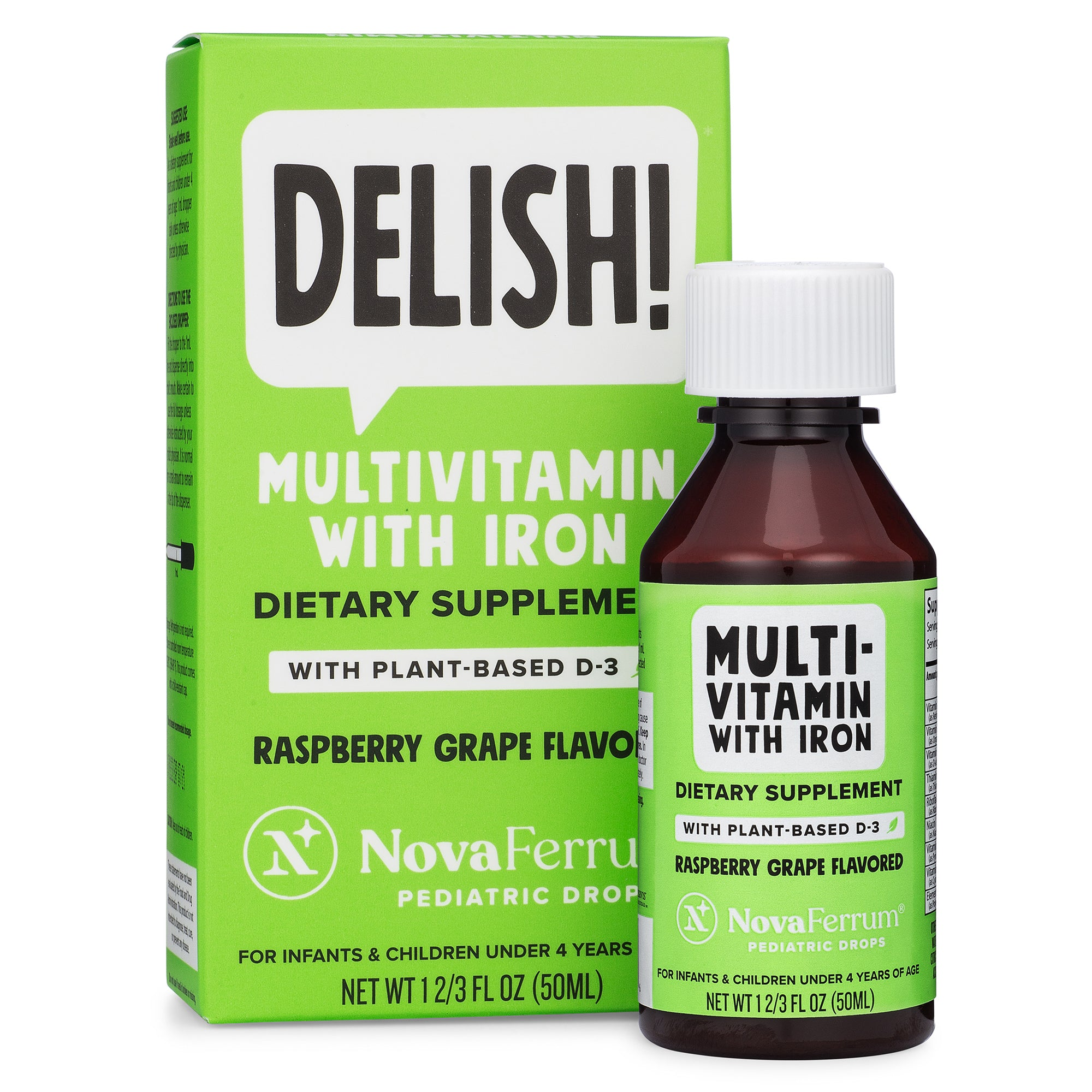 NovaFerrum Vegan Multivitamin with Iron Pediatric Drops (Organic Plant-Based D3) (2 FL OZ)