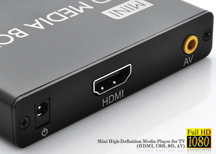 Mini 1080P High-Definition Media Player for TV (HDMI, USB, SD, AV)