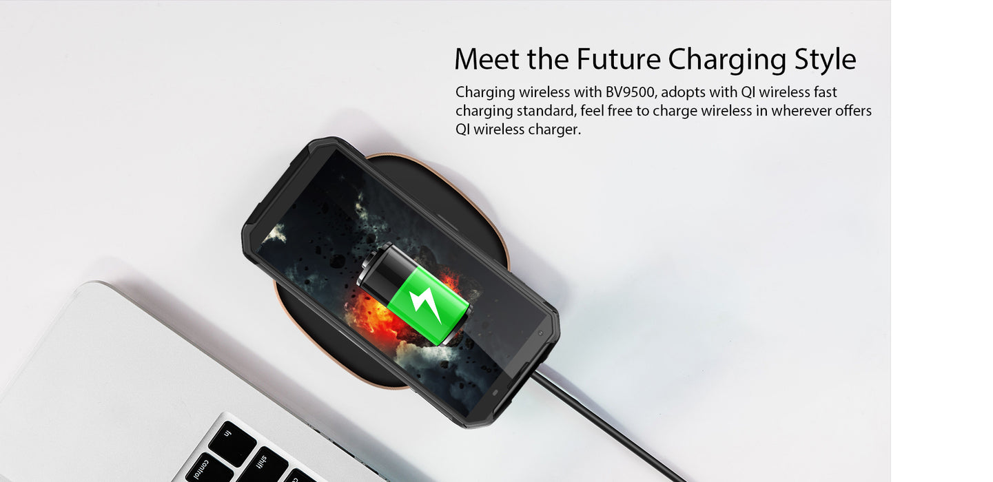 Blackview BV9500 10000mAh IP68 Waterproof 16MP Camera NFC Wireless Charger 5.7-Inch 18:9 4G Global Smartphone Green