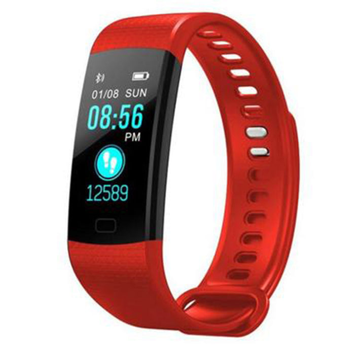 Red Smart Bracelet Color Screen Smart Wristband Heart Rate Activity Fitness Tracker Smart Band