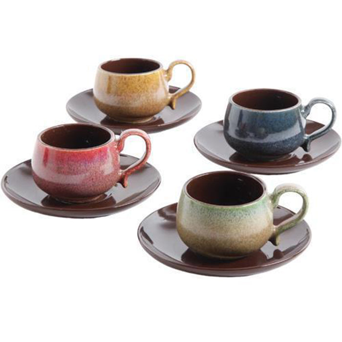 8 Piece Espresso Cup And Saucer Set For 4 - Multicolor