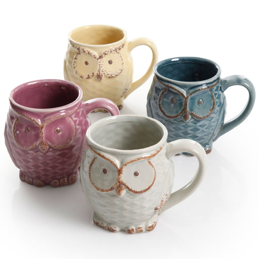 Gibson Nocturnal Gaze owl Mugs 18oz  set of 4 - Assorted colors
