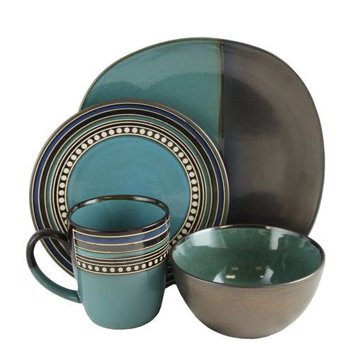 Gibson Ocean View 16 Piece Dinnerware Set Blue