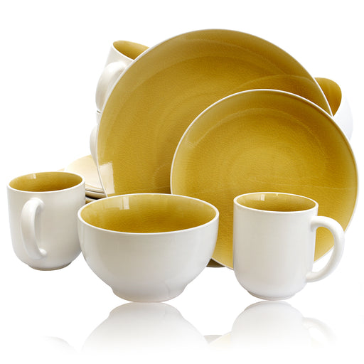 Gibson Serenity Amber 16-Piece Dinnerware Set- Yellow