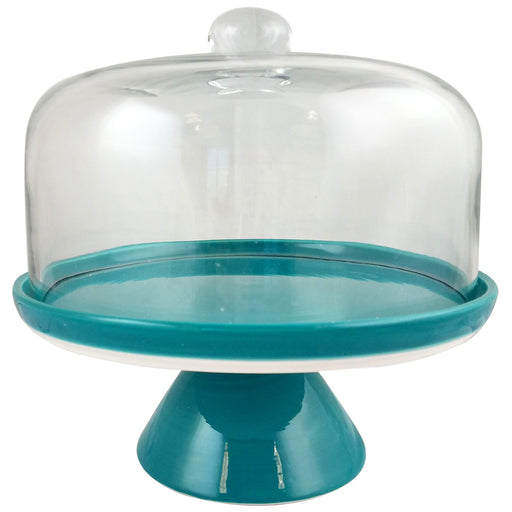 Studio California Nordic Cool Cake Stand With Glass Dome in Teal