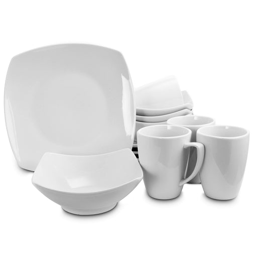 Gibson Home Zen Buffetware Square 12 Piece Dinnerware Set