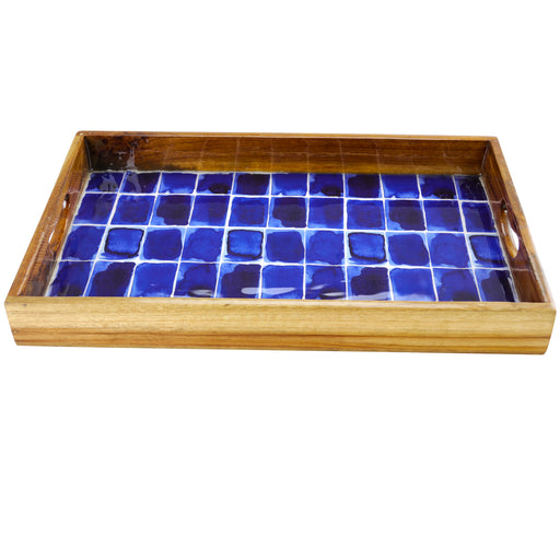 "Gibson Elite Mozambique 17"" Enameled Serving Tray, Blue Bricks"
