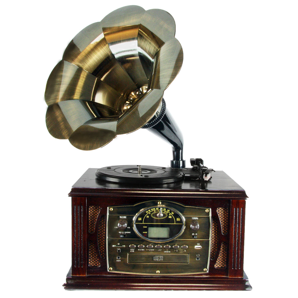 Back to The 50's Executive Antique Trumpet Horn Turntable/Phonograph with encode function