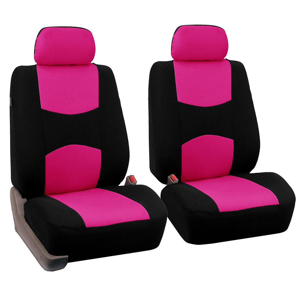 4pcs/set Universal Car Front Seat Cushion Cover + Head Cushion Cover Breathable Cloth Seat Cover Pad Set Fluorescent Pink