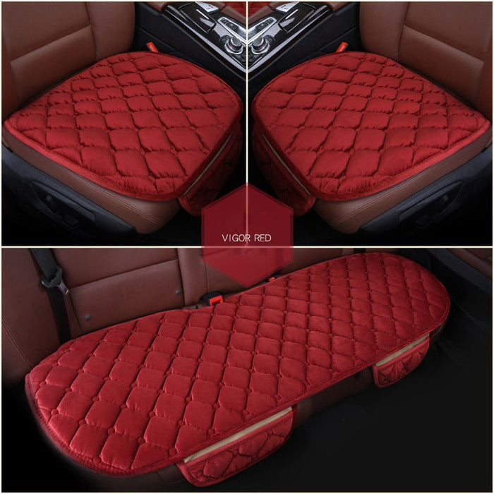 3 Pcs Soft Comfortable Car Cushion Non-slip Breathable 2 Pcs Front Cushion + 1 Pcs Rear Cushion (Red)