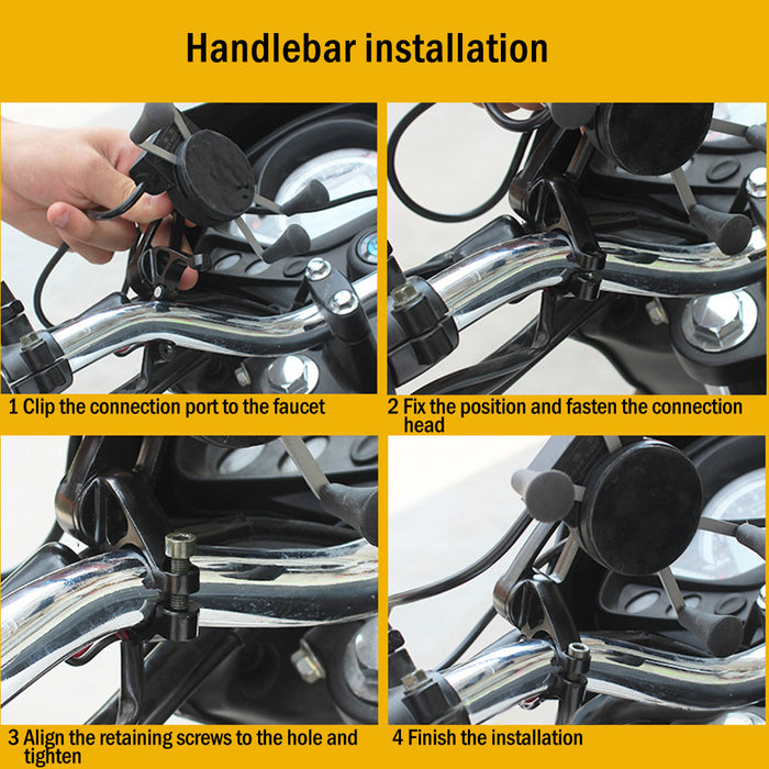 Motorcycle Bike Handlebar Mirror X Shape Grip for 3.5-6.5 Inch Cell Phone Mount Holder with USB Charger