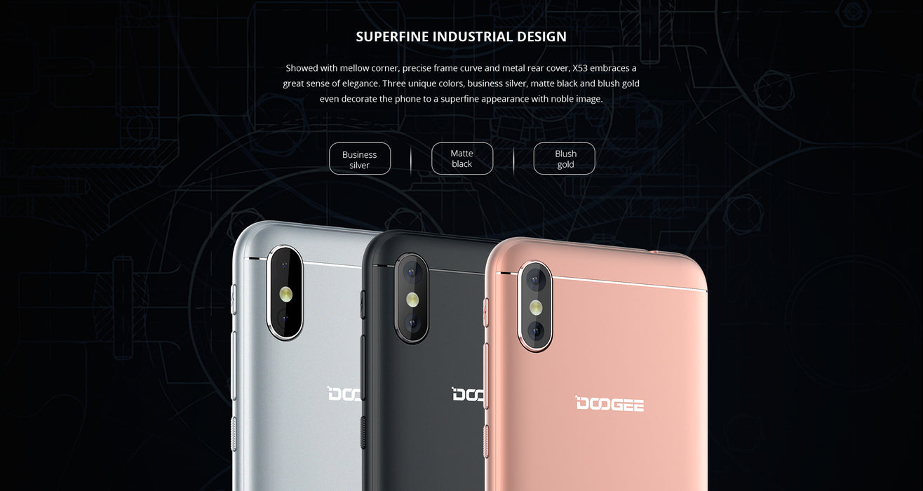 DOOGEE X53 5.3 Inch 720P Quad Core 1 + 16GB Smart Phone-Pink