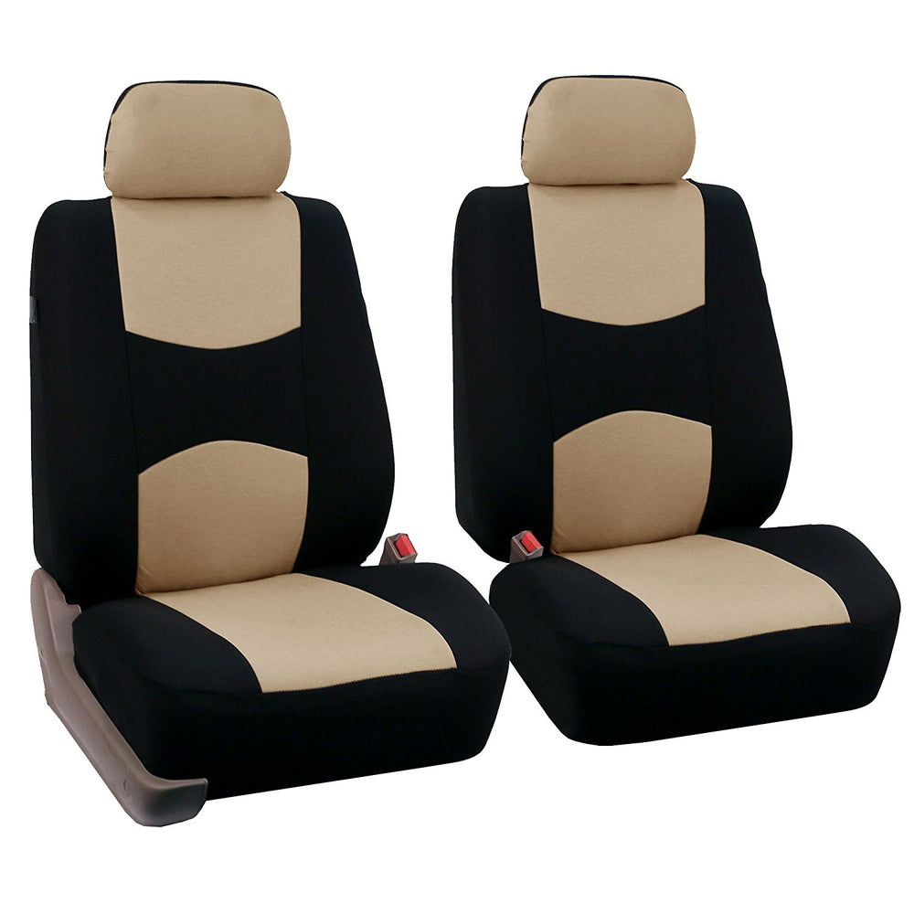4pcs/set Universal Car Front Seat Cushion Cover + Head Cushion Cover Breathable Cloth Seat Cover Pad Set Beige