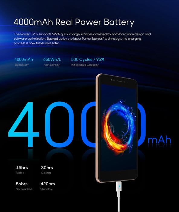LEAGOO Power 2 Pro 5.2-Inch HD Mobile Phone Android 8.1 MTK6739 Quad-Core 2GB RAM and 16GB ROM  8MP Dual Cameras 4G Smartphone
