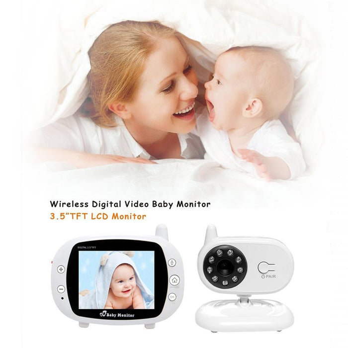 EU 3.5 inch LCD Screen Wireless Digital Baby Monitor Two Way Audio Video Baby Monitor Night Vision Lullaby Camera