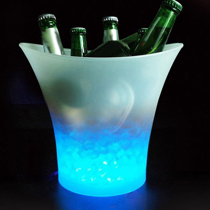 5L Glowing LED Ice Bucket Blue Light Champagne Wine Drink Beer Ice Cooler for KTV Party Bar