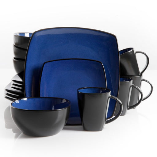 Soho Lounge 16 pc Dinnerware, Blue Square Shape