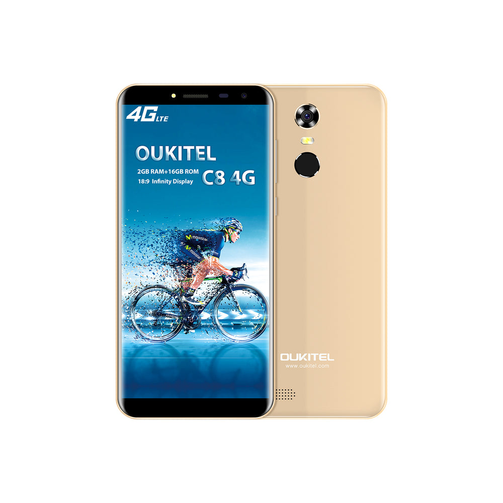 OUKITEL C8 5.5 Inch MT6737 Android 7.0 4G Smart Phone Gold