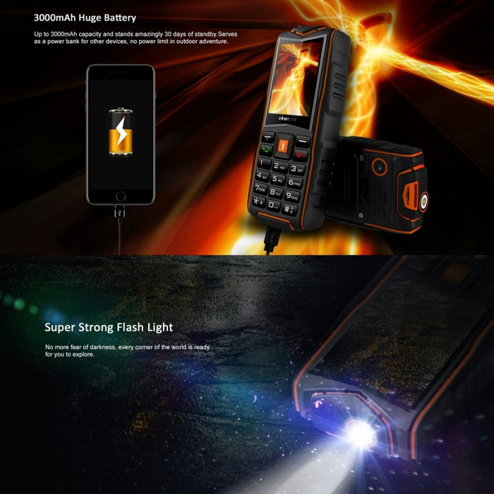 VKWorld New Stone V3 GSM Cell Phone - 3x SIM Card Slot, Flashlight, Power Bank, FM Radio, IP68,  Rear Camera (Orange)