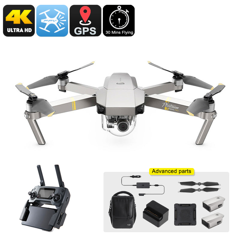 DJI Mavic Pro Platinum Drone Combo - 65km/h, 4K Camera, 30 Minutes Flight Time, 15KM Range, GPS, Different Flight Modes, App