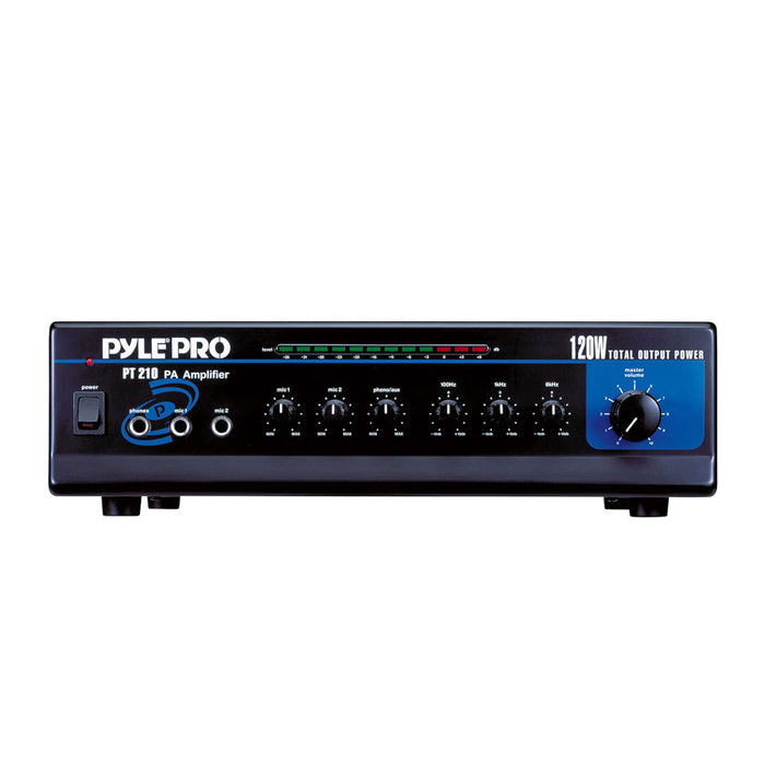 Pyle PT210 120 Watt Microphone PA Mono Amplifier with 70V Output and Mic Talkover
