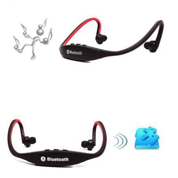 Wireless Bluetooth Headset Stereo Sport Earphone Handfree for iPhone Samsung (Red)