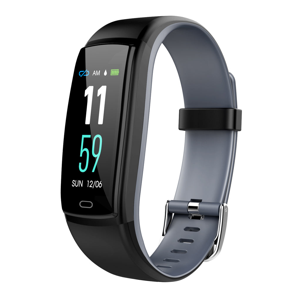 Color Screen Smart Bracelet Two-color Strap Heart Rate Blood Pressure Monitor Sports Smart Bracelet Black Gray