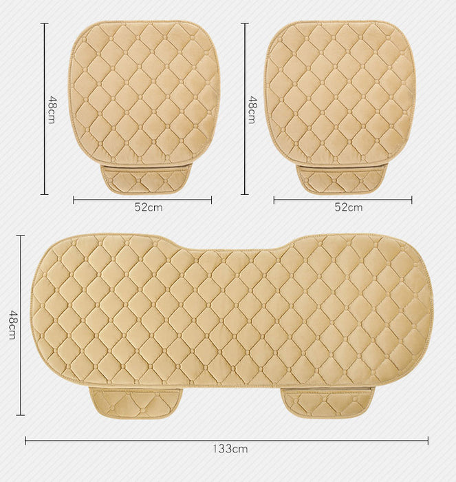 3 Pcs Soft Comfortable Car Cushion Non-slip Breathable 2 Pcs Front Cushion + 1 Pcs Rear Cushion (Purplr)